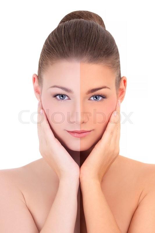 Stock image of 'sunbathing concept - beautiful woman before and after suntanning isolated on white background'
