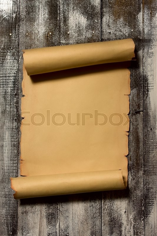 Stock image of 'Ancient scroll rolled in wooden Background with Empty Space for Text'