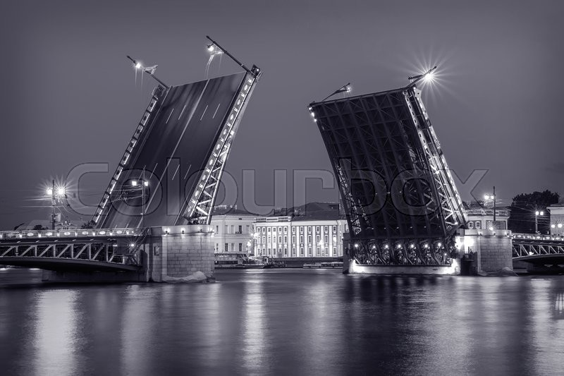 Stock image of 'Palace Bridge drawing, an iconic sight of St. Petersburg, Russia\'