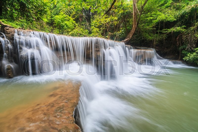 Stock image of 'Waterfall (Huay Mae Kamin Waterfall) in kanchanaburi of Thailand'