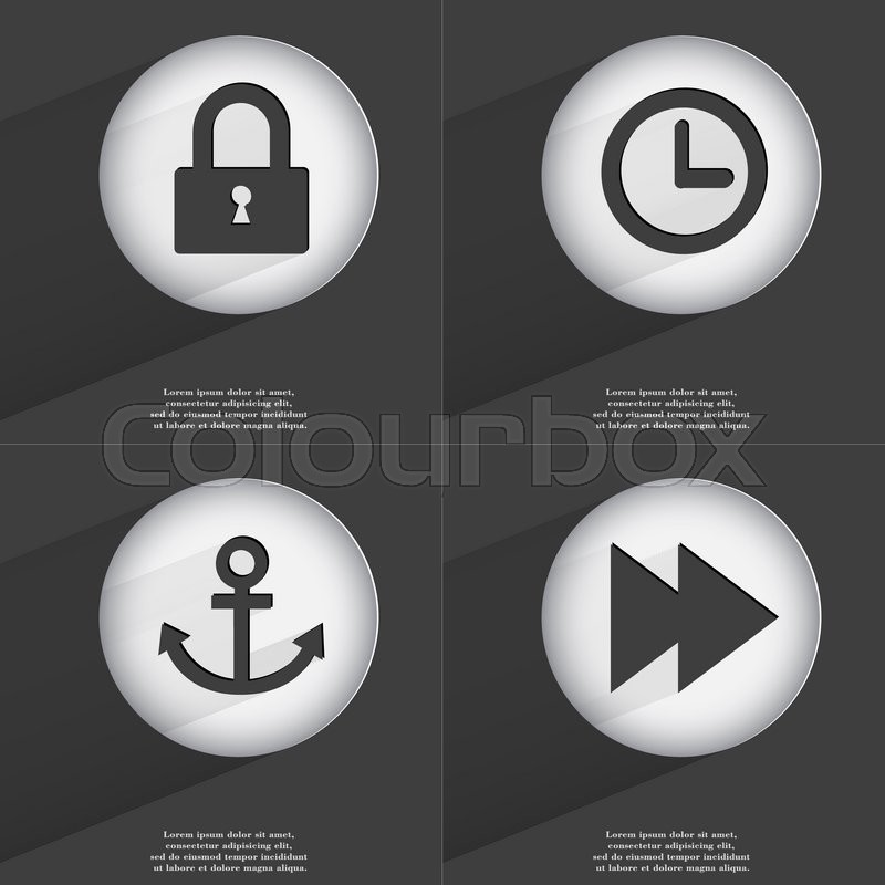 Stock image of 'Lock, Clock, Anchor, Rewind icon sign. Set of buttons with a flat design.  illustration'