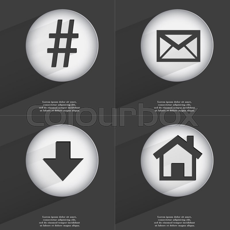 Stock image of 'Hashtag, Message, Arrow directed down, House icon sign. Set of buttons with a flat design.  illustration'
