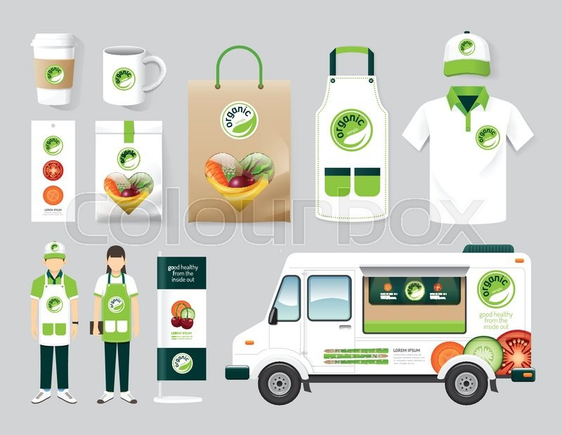 vector organic restaurant design set street food truck health shop flyer menu package t. Black Bedroom Furniture Sets. Home Design Ideas