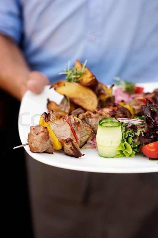 Stock image of 'Frontal view of waiters hand with white plate. On the plate is kebab and fresh vegetables'