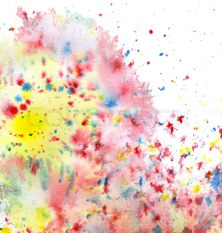 Stock image of 'colored paint splatters in white back'
