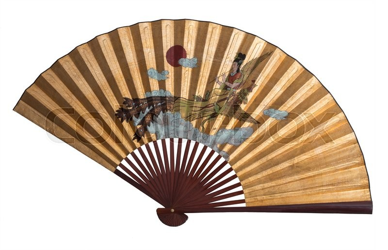 Stock image of 'Asian fan isolated, on a white backgorund.'