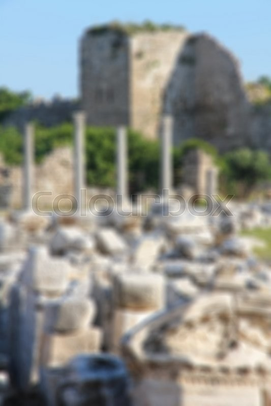Stock image of 'Turkey. Side. Antique ruins with columns. In blur style'
