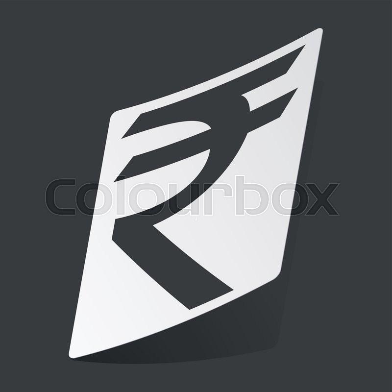 White Sticker With Black Indian Rupee Symbol On Black Background