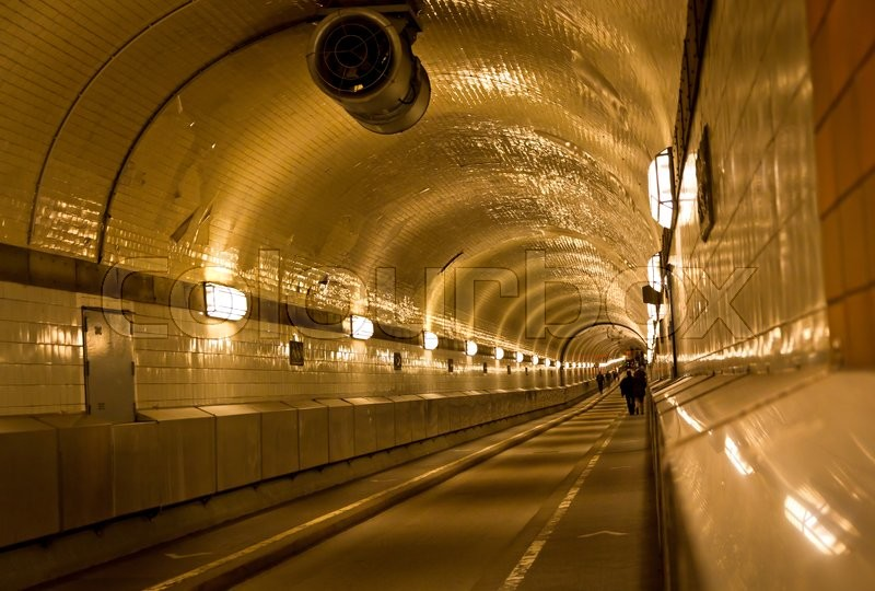 Stock image of 'Old tunnel under the Elbe river in Hamburg, Germany'