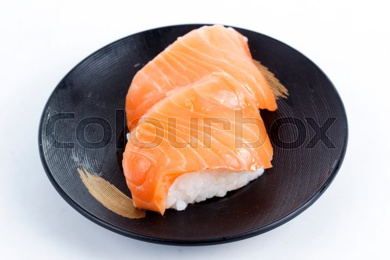 Stock image of 'Sushi Salmon on the Plate white background'