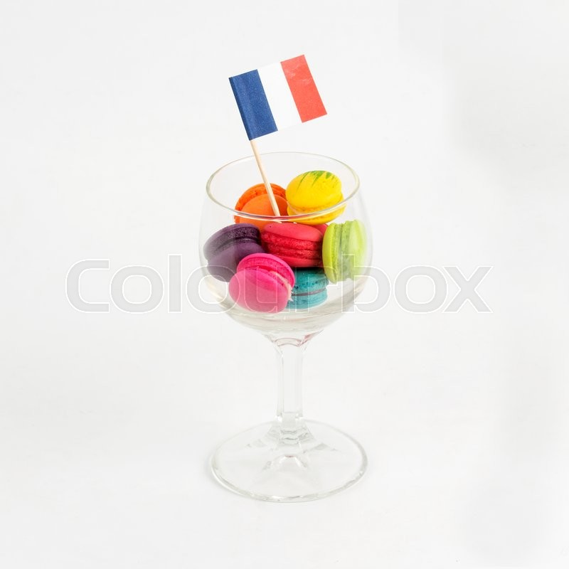 Stock image of 'Group of colorful macaroon in the glass'