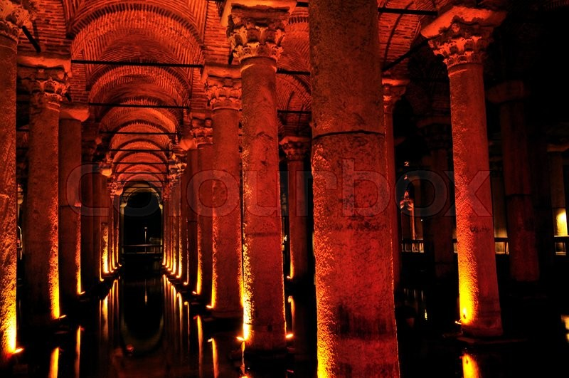 Stock image of 'Inside of Basilica Cistern underground water reservoir build by Emperor Justinianus in 6th century, Istanbul, Turkey'