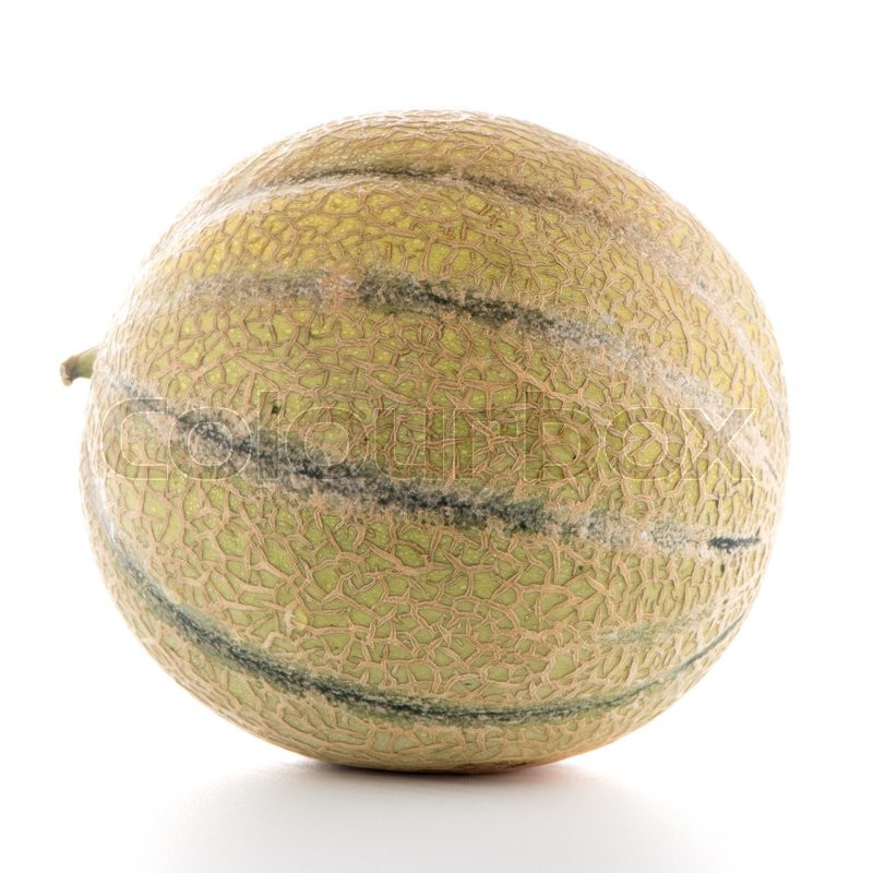 Stock image of 'Juicy honeydew melon on a white background.'