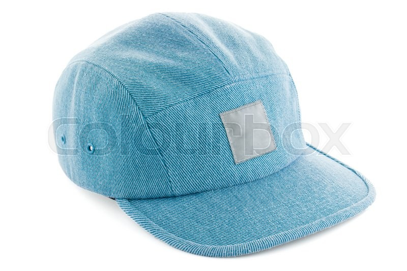 Stock image of 'Blue Hat With Copy Space Isolated on White Background.'