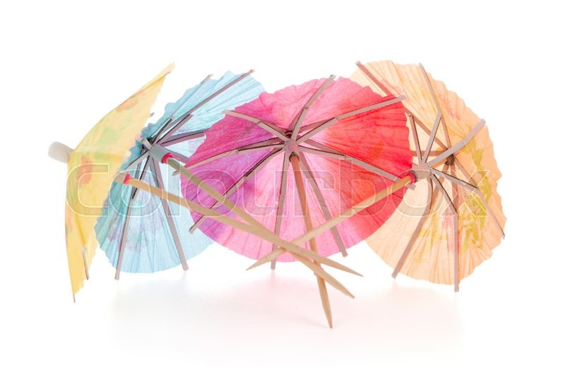 Stock image of 'umbrellas for cocktails isolated on white background.'