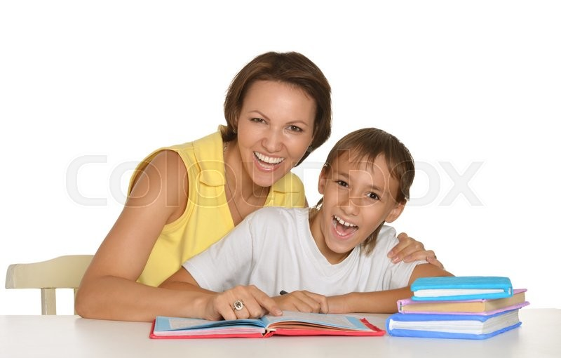Stock image of 'Mother and son doing homework together on a white background'
