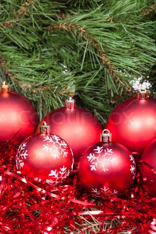 Vertical christmas still life several red