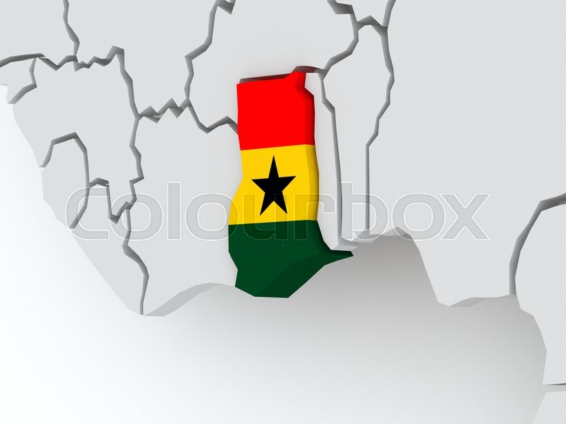 Stock image of 'Map of worlds. Ghana. 3d'