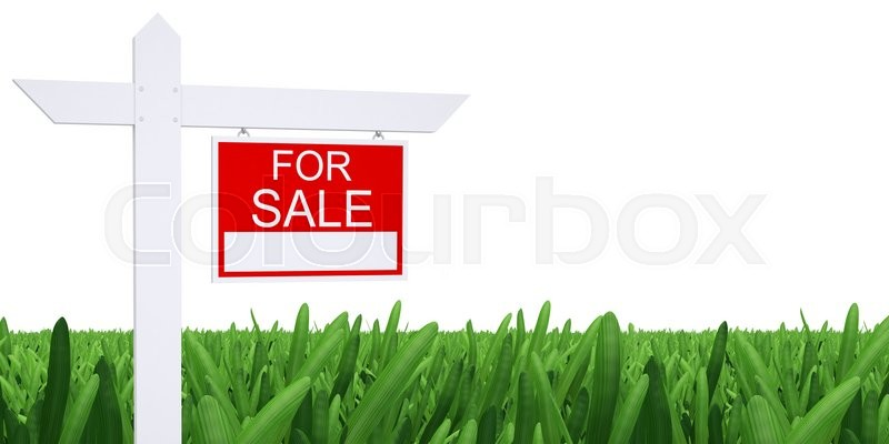 Stock image of 'Sign for sale with green grass and white background'