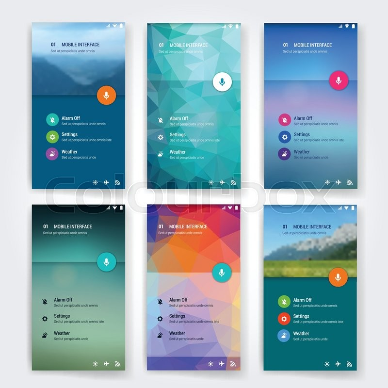 modern user interface screen template for mobile smart phone or web site  triangular colorful