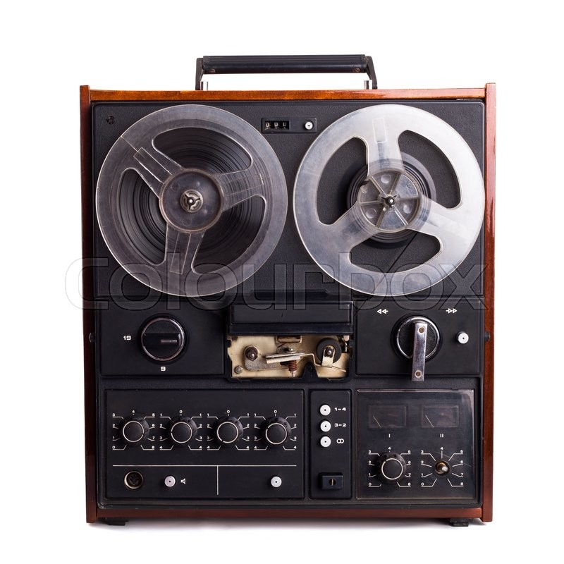 Stock image of 'vintage reel-to-reel recorder isolated on white'
