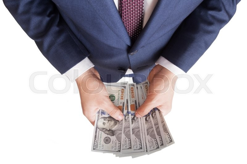 Stock image of 'man counts money in hands dollar usa on white background'