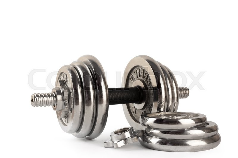 Stock image of 'Barbell idolated on white'