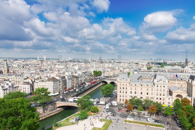 Stock image of 'skyline of Paris city  at sunny summer day, France'