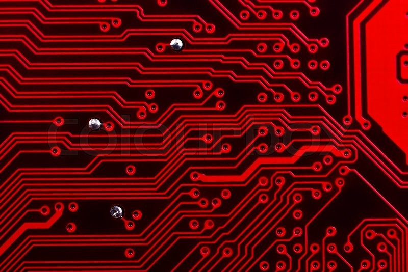 Stock image of 'Electronic red circuit board, close up'