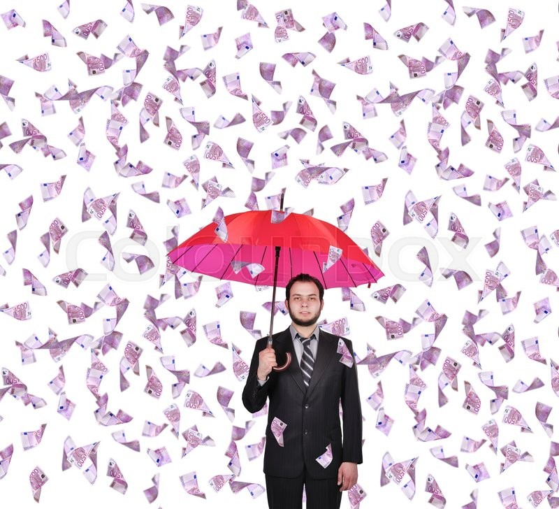 Stock image of 'businessman with umbrella and falling 500 euro banknote'