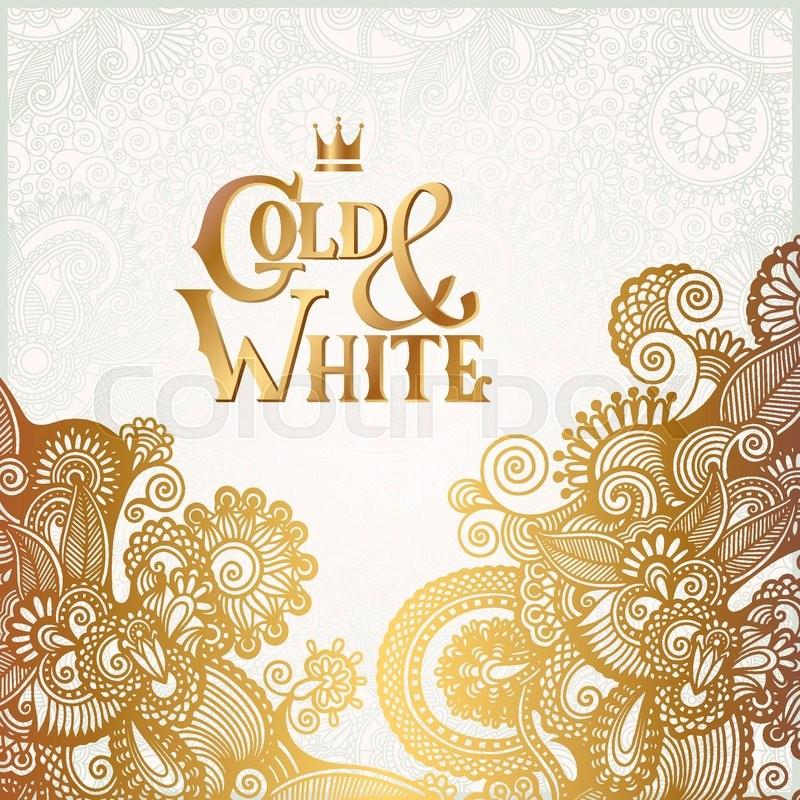 Floral Wedding Card Manufacturer From Hosur: Elegant Floral Ornamental Background With Inscription Gold