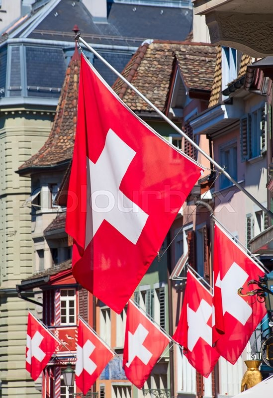 Stock image of 'Swiss National Day on August 1 in Zurich, Switzerland.'