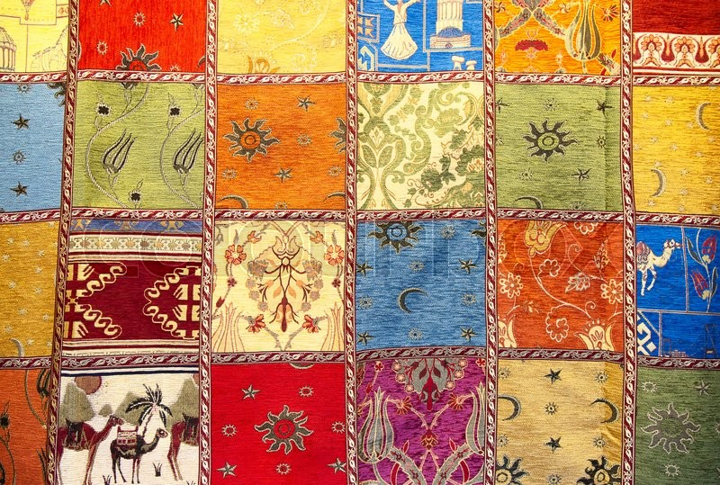 Stock image of 'Colorful crazy quilt on the arabian market'