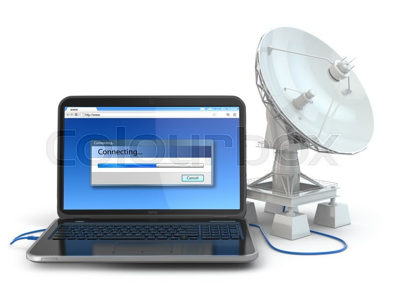 Stock image of 'Wireless internet concept.  Laptop and satellite dish. 3d'