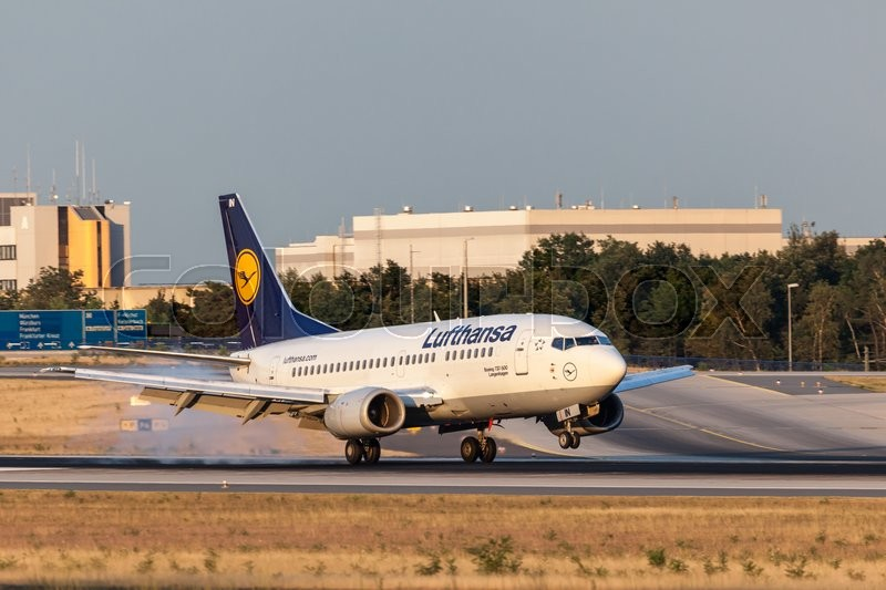 Editorial image of 'FRANKFURT, GERMANY - JULY 18: Lufthansa Boeing 737-500 aircraft landing at the Frankfurt International Airport. July 18, 2015 in Frankfurt, Germany'