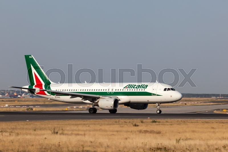 Editorial image of 'FRANKFURT, GERMANY - JULY 17: Airbus A320 of the Alitalia Airline ready for take off at the Frankfurt International Airport. July 17, 2015 in Frankfurt, Germany'
