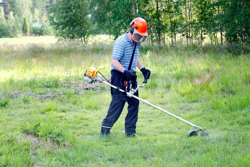 Stock image of 'farmer with safety equipment on field trimming weed with gasoline grass trimmer '