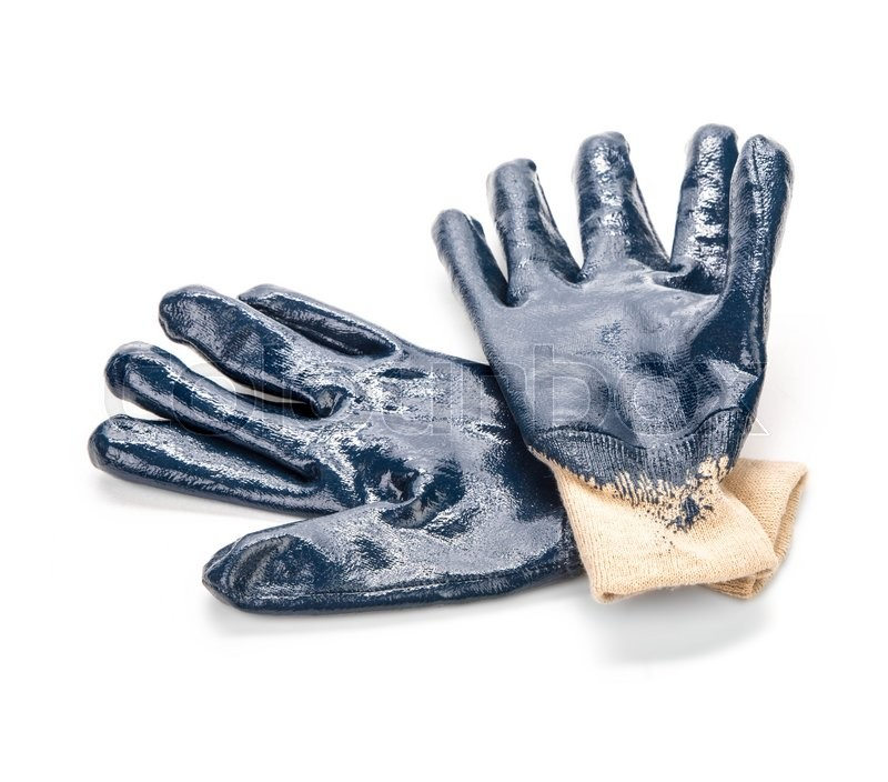 Stock image of 'Close up of blue rubber gloves. Isolated on a white background. '