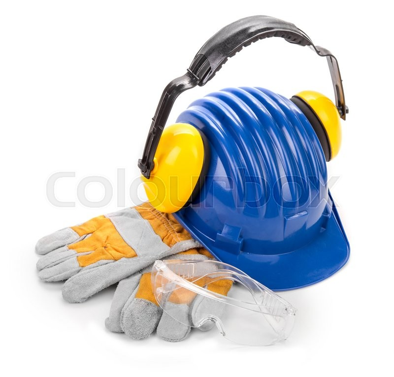 Stock image of 'Safety helmet gloves. Isolated on a white background.'