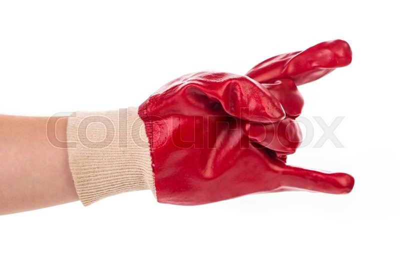 Stock image of 'Close up of red rubber glove. Isolated on a white background.'