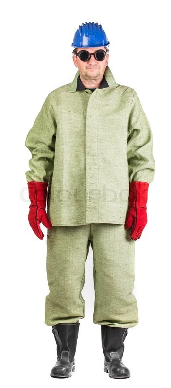 Stock image of 'Man in uniform and face mask. Isolated on a white background. '