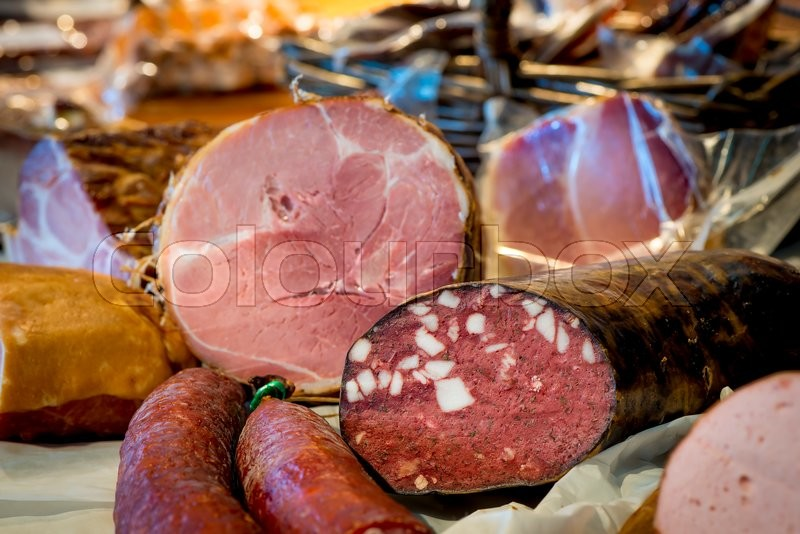 Stock image of 'Delicious fresh meat sausage closeup'