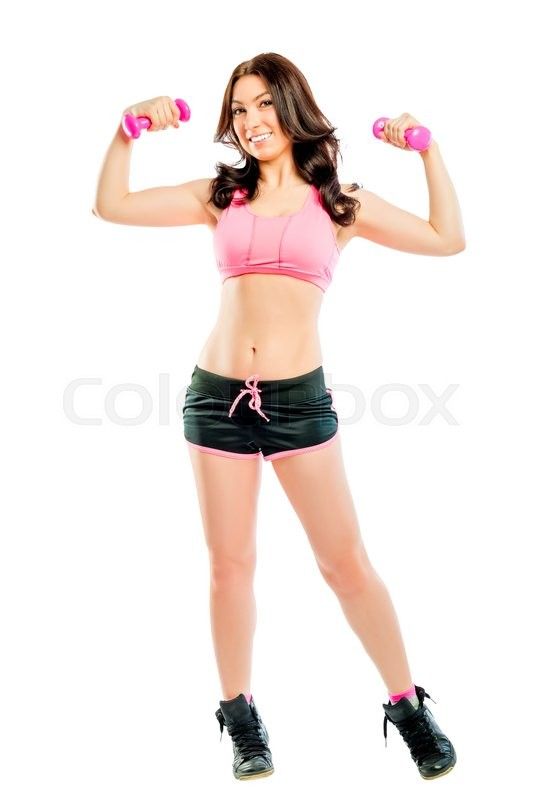 Stock image of 'Slender athlete with sports props in the studio'