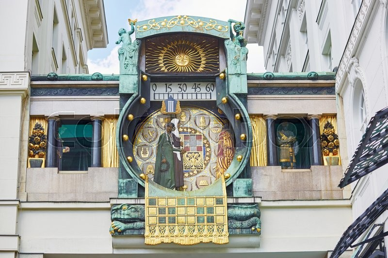 Stock image of 'Ankeruhr (Anker clock), famous astronomical clock in Vienna, Austria built by Franz von Matsch'