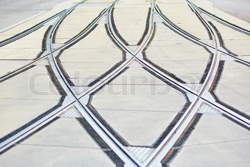Stock image of 'Closeup of tram rails intersection in Vienna, Austria'