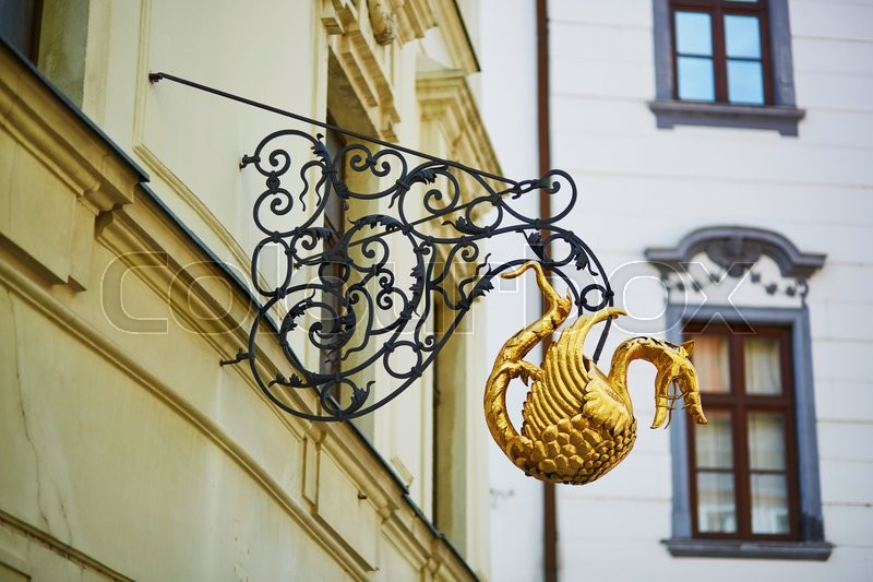 Stock image of 'Beautiful shop or cafe sign in the center of Bratislava, Slovakia'