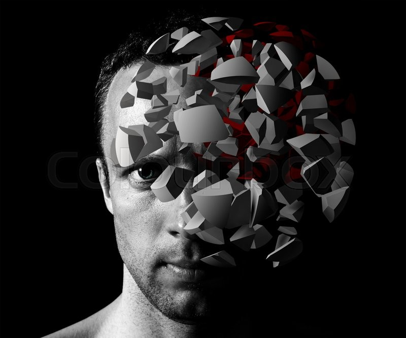 Stock image of 'Caucasian man creative portrait with 3d explosion fragments on black background'