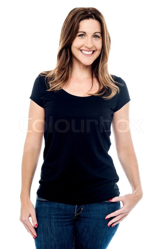 Stock image of 'Relaxed woman posing in casual wear over white'