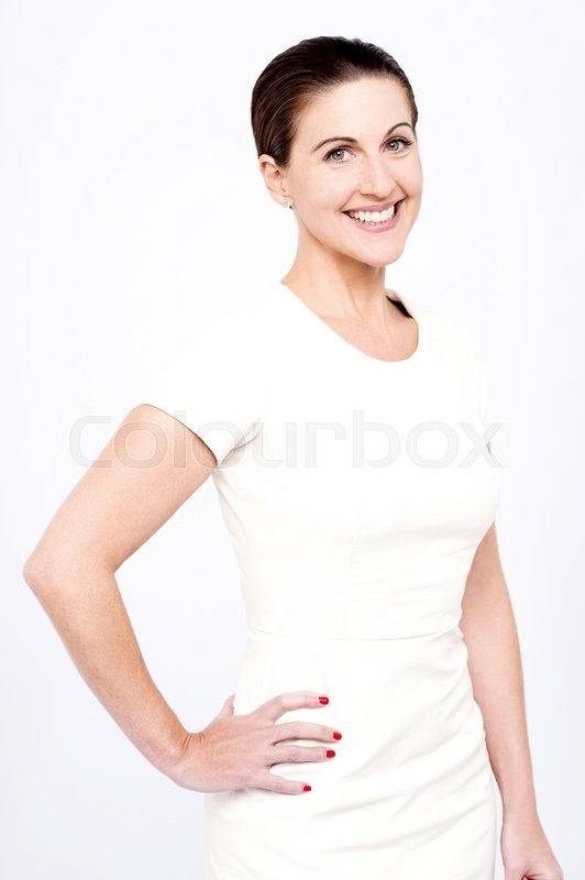 Stock image of 'Stylish woman posing with hands on her hips'
