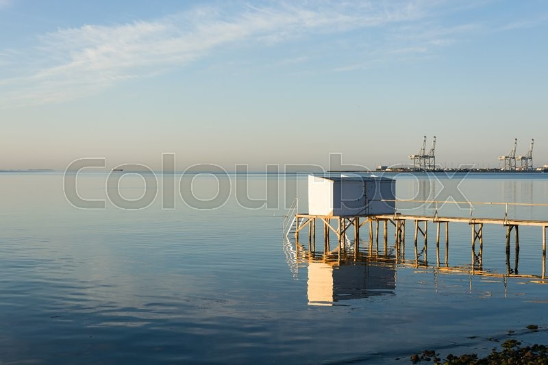 Stock image of 'Lonely beach hut for bathing'